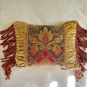 Luxe velvety Austin Horn Collection fringe pillow